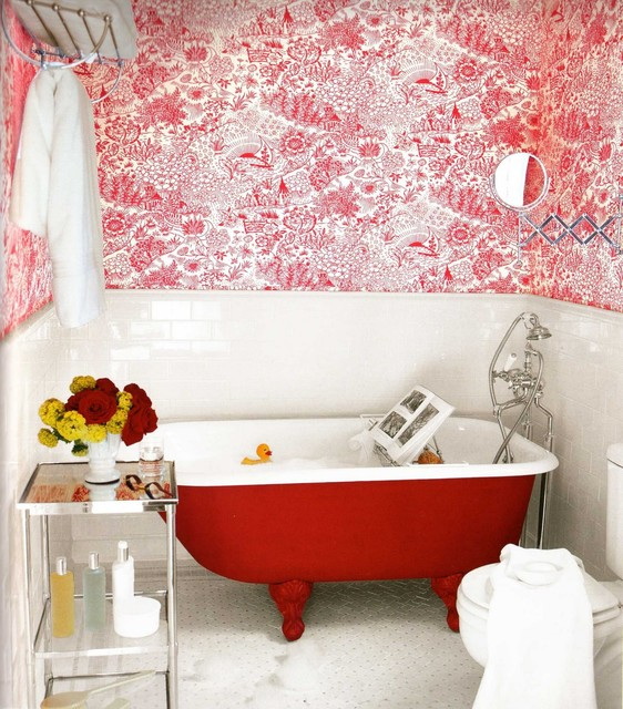 apartment therapy- red clawfoot tub eclectic bathroom