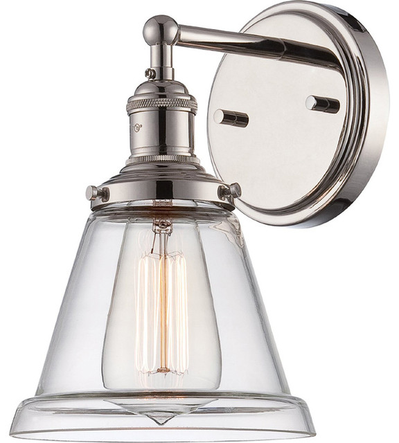 Bath Sconces With Shades antique incandescent downlight sconce with a transitional clear