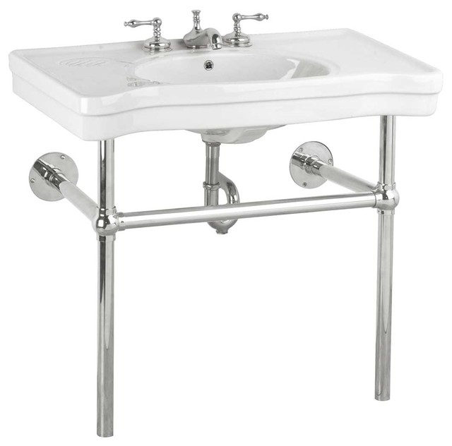 Console Sink Belle Epoque White China Chrome Wall Mount Modern Bathroom  Sinks