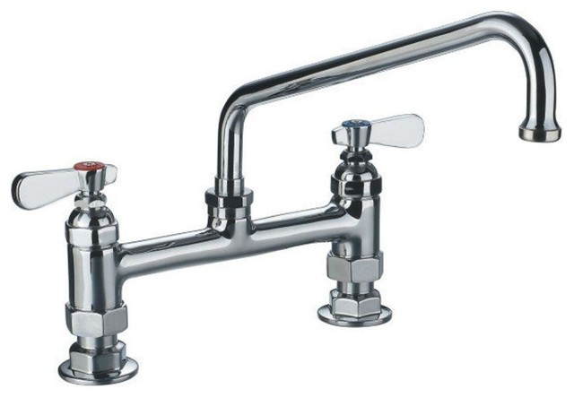 heavy duty utility bridge faucet with an extended swivel