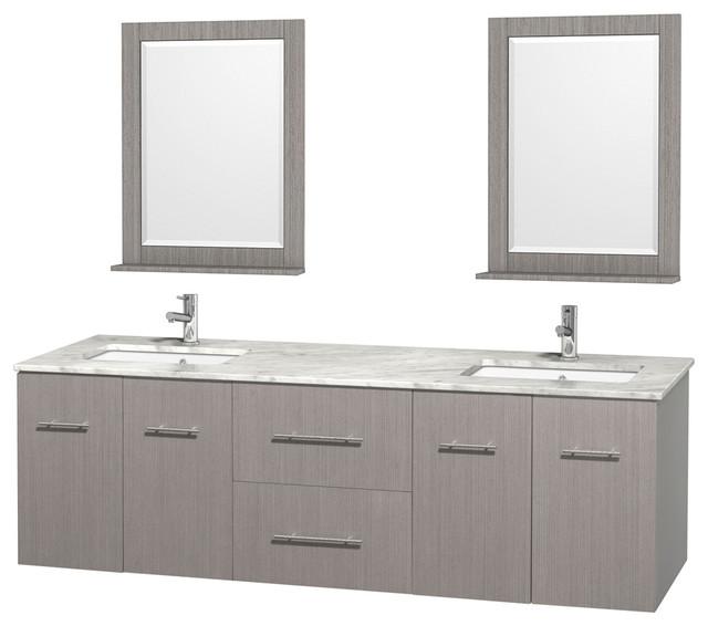 Centra 72 Gray Oak Double Vanity White Carrera Marble Square Sink 24 Mirror