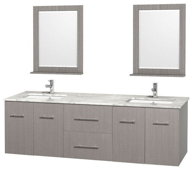 Double Sink Vanity 72 Inch. Centra 72  Gray Oak Double Vanity White Carrera Marble Square Sink 24