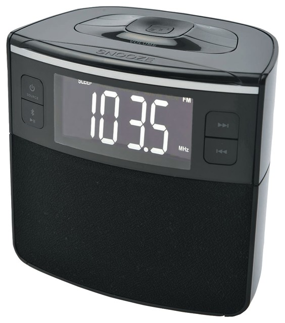 sylvania sylvania as bluetooth clock radio with auto set dual alarm clock usb charging alarm. Black Bedroom Furniture Sets. Home Design Ideas
