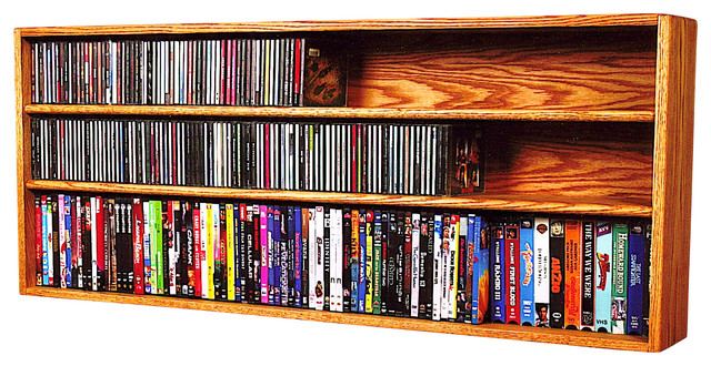Solid Oak Wall Or Shelf Mount For Cd And Dvd Vhs Tape Book Cabinet