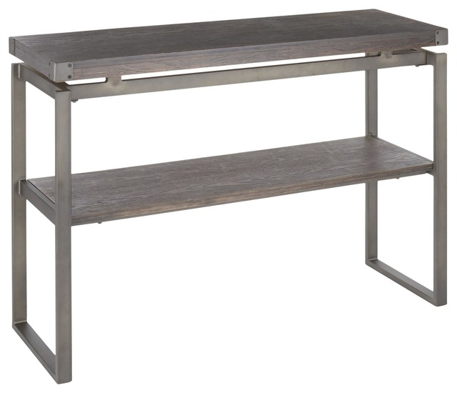 Drift Industrial Console Table, Antique Metal, Espresso Wood-Pressed Bamboo