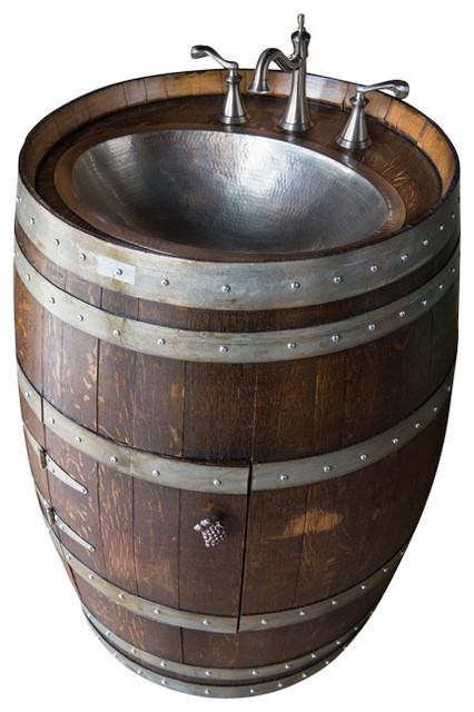 Alpine Wine Design Wine Barrel Vanity With Hammered