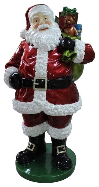 "63"" Standing Santa Claus Presents Fiberglass Christmas Decor - Traditional - Outdoor Holiday Decorations - by Northlight Seasonal"