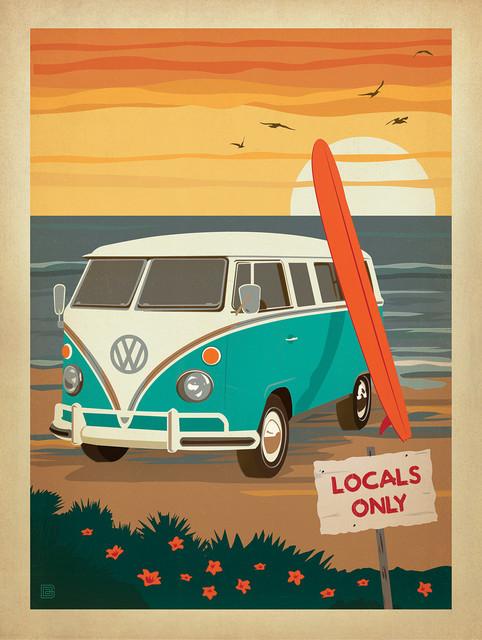 Locals Only Vw Surf Van Coastal Gallery Print 18 Quot X24