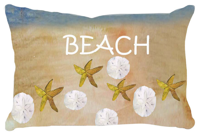 Beach House Lumbar Pillows, Beach Sea Shells And Starfish.