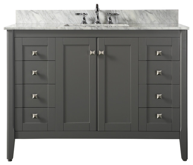 Shelton 48 Bath Vanity Set White Transitional Bathroom Vanities And Sink Consoles By Ancerre Designs Houzz