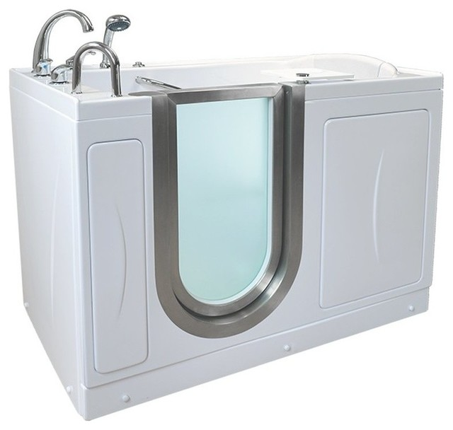 """52""""x28"""" Acrylic Walk-In Bathtub, Left, Roman Faucet, Heated Seat And Back Rest."""