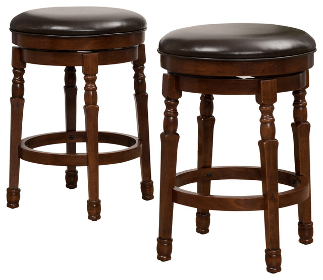 Jaxx Brown Leather Swivel Counter Stools, Set Of 2.