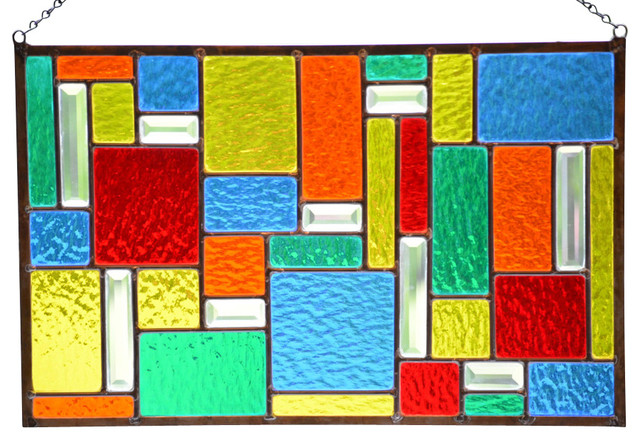 Stained Gl Window Panel Hanging Color Burst Geometric