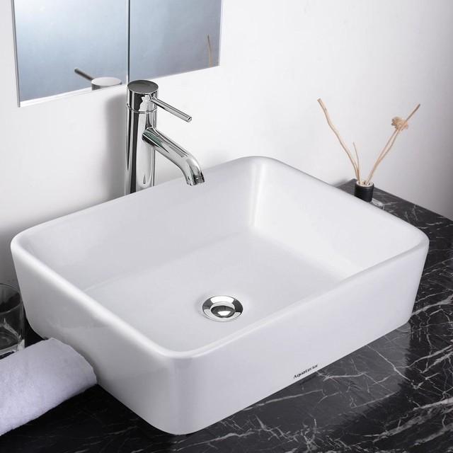 aquaterior 18 quot rectangle porcelain ceramic vessel sink w
