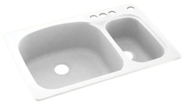 Swan 33x22x9 Solid Surface Kitchen Sink 4 Hole Kitchen
