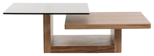 Modrest Echelon Modern Walnut And Smoked Glass Coffee Table Contemporary  Coffee Tables