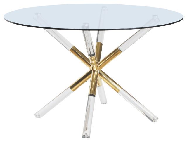 Mercury Acrylic Gold Dining Table, Mercury Dining Room