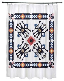 71x74 Jodhpur Border 4 Geometric Print Shower Curtain Southwestern Shower Curtains By E