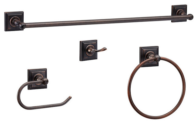 Aurora Series Piece Oil Rubbed Bronze Bathroom Hardware Set - Brushed bronze bathroom hardware