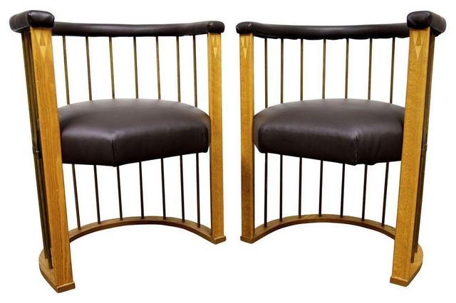 frank lloyd wright style barrel chairs est retail on chairish midcentury