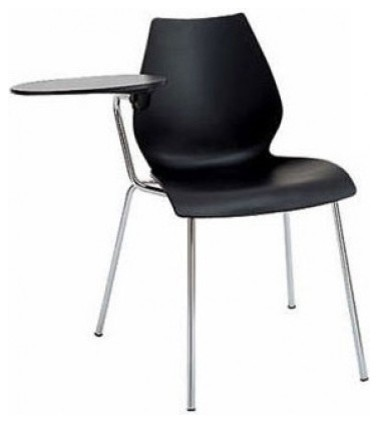 Kartell Maui Chair With Tablet Arm Matte Anthracite Set Of 2 Modern Office