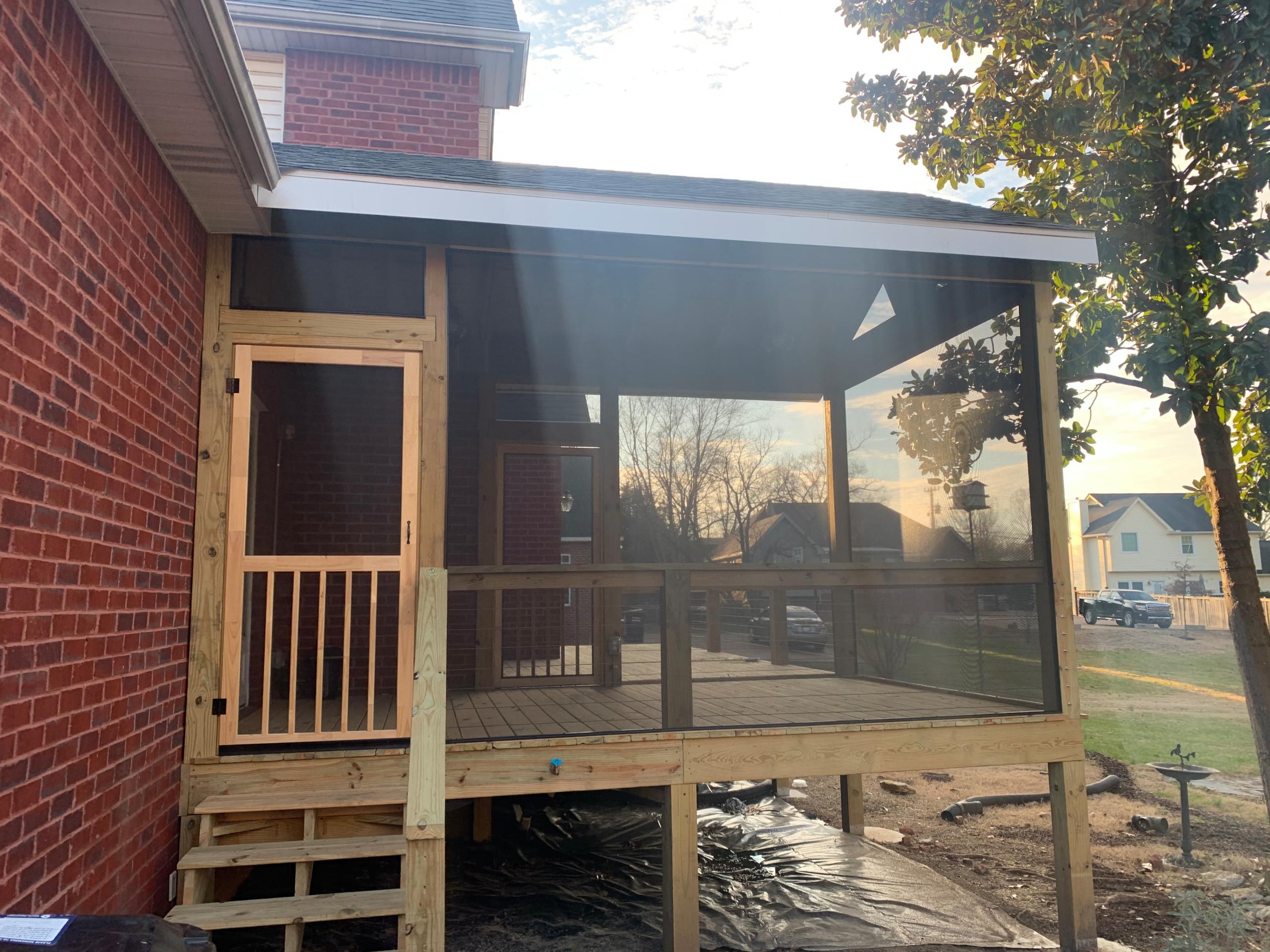 Half covered, screened deck