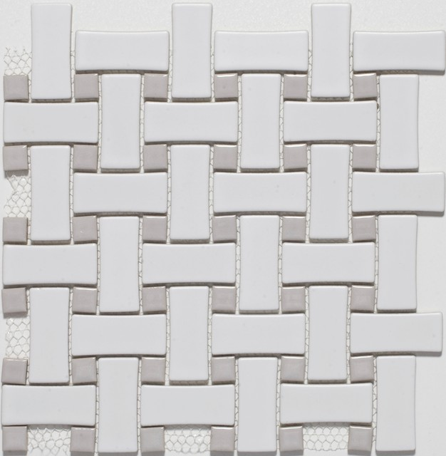 Ceramic White Grey Basketweave Mosaic Tiles Contemporary Mosaic Tile Other By Mission