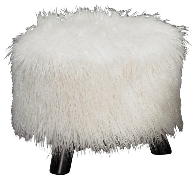 Dusty Blue Faux Fur Stool Contemporary Footstools And