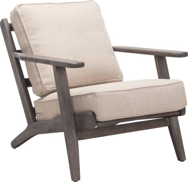 Tahoe Lounge Chair, Beige & Dark Brown by Zuo Modern Contemporary
