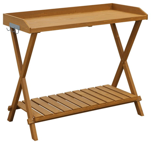 Outdoor folding garden table potting bench with slatted bottom potting benches by hearts attic - Bench at bottom of bed ...
