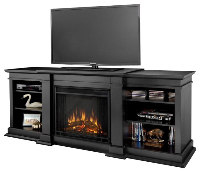 Real Flame Fresno Indoor Tv Stand Electric Fireplace In Black.