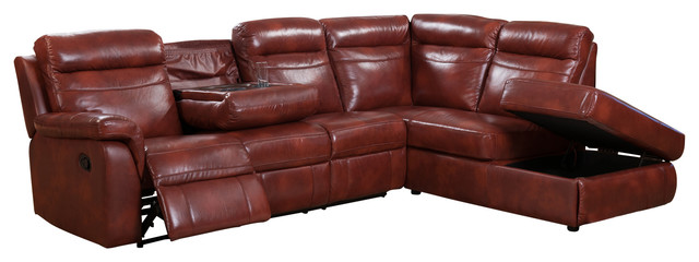 Hariston Leather Reclining Sectional with Storage Chaise Dark Caramel sectional sofas