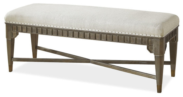 Martens Bed End Bench, Distressed Driftwood.