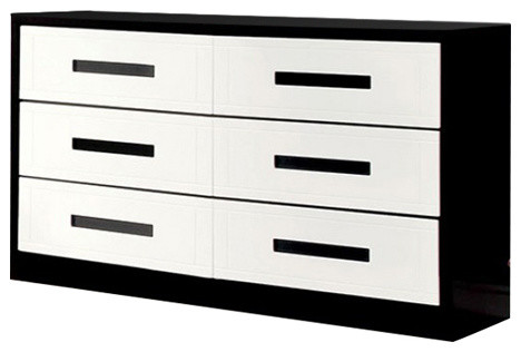 Perpetual Designed Wooden Dresser, White And Black.