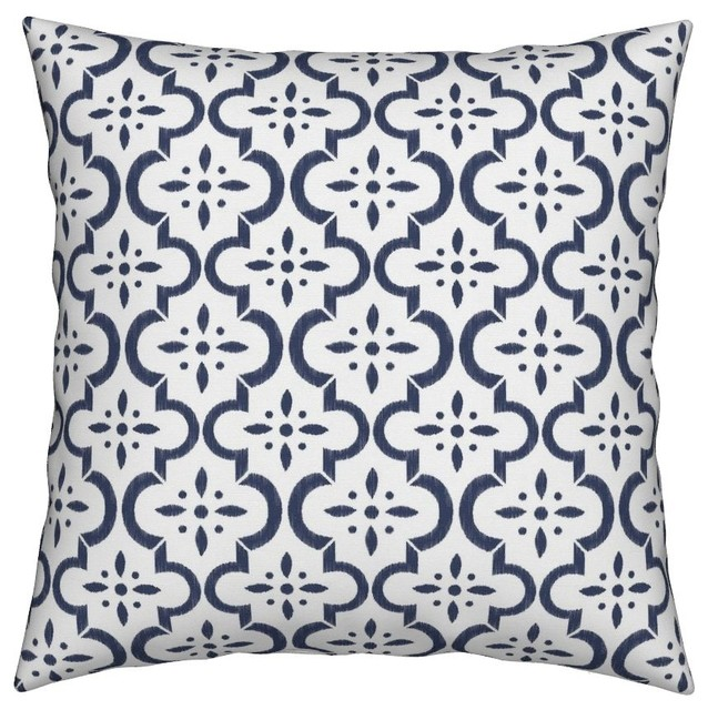 Damask Ikat Floral Orange Tangerine Pillow Sham by Roostery