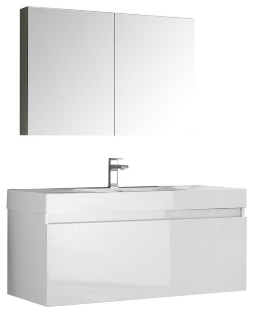 "Fresca Mezzo 48"" White Wall Hung Modern Bathroom Vanity ..."