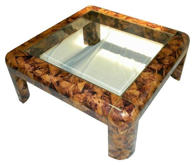 Maitland Smith Tessellated Shell & Brass Table coffee-tables - Maitland Smith Tessellated Shell & Brass Table - Coffee Tables