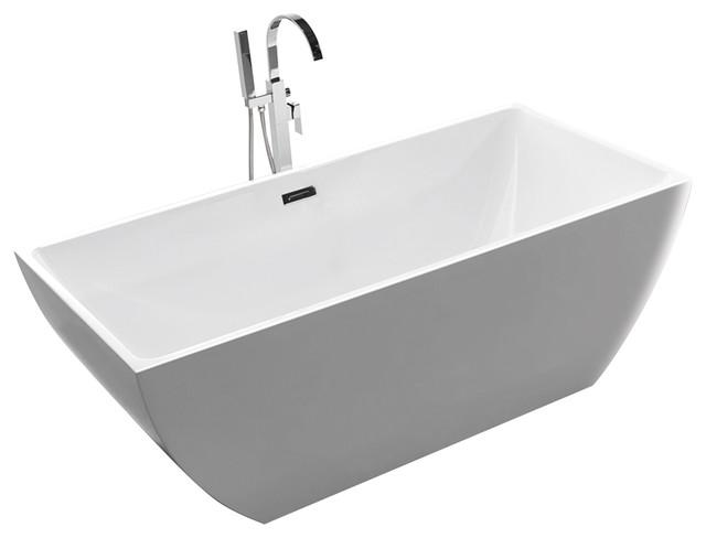 Tarnby White Acrylic Rectangular Freestanding Bathtub 67\