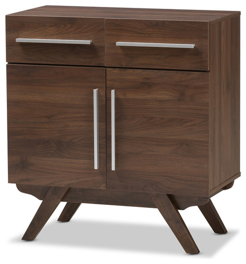 Ashfield Mid-Century Modern Walnut Brown Finished Wood Sideboard