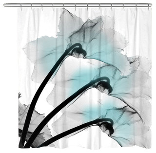 white and navy shower curtain. Orchids X Ray Flowers Shower Curtain  Blue Contemporary Curtains By Laural Home