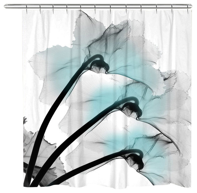 Orchids X Ray Flowers Shower Curtain Blue