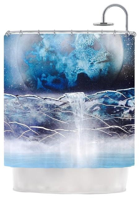 KESS InHouse Infinite Spray Art Surreal Falls Blue Planet Shower Curtain