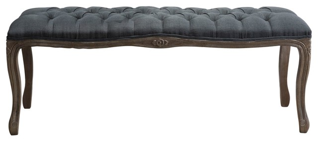 Tassette Tufted Fabric Bench, Oxford Gray.
