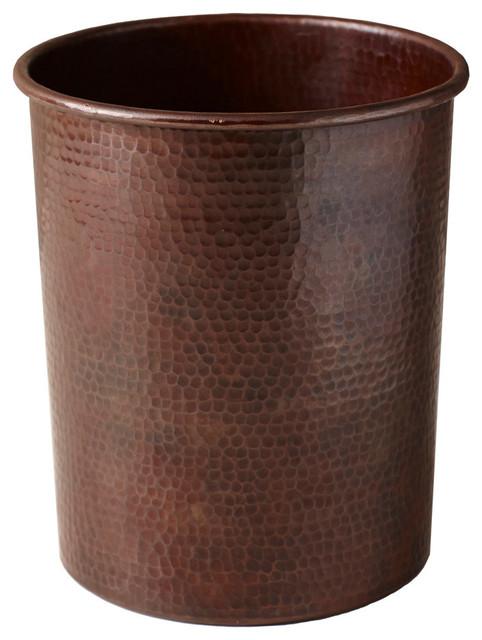 Large Hammered Copper Utensil Holder Traditional