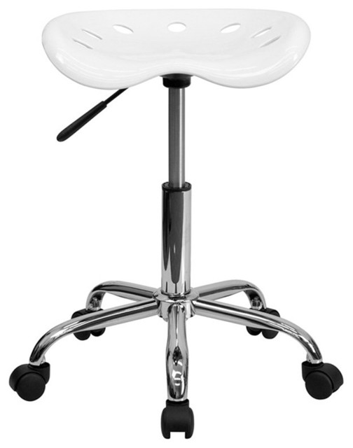 Flash Furniture Vibrant Chrome Stool And Tractor Seat In White