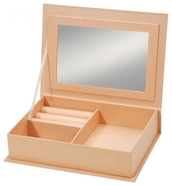 Darice 150877 Paper Mache Jewelry Box With Mirror 7 5 X5 Contemporary