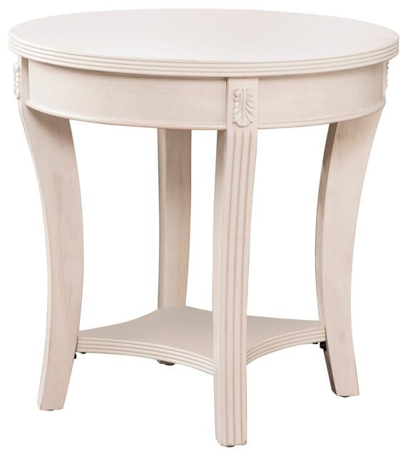 Tobias Traditional Round End Table Whitewash Traditional Side Tables And End Tables By Sei