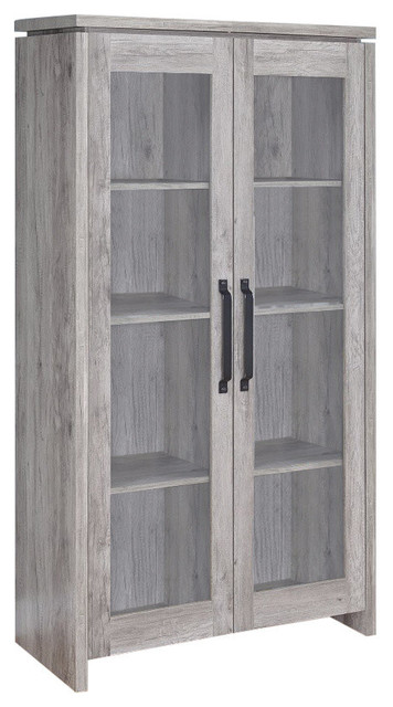 Spacious Wooden Curio Cabinet With 2 Glass Doors, Gray.