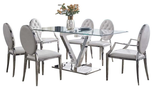 Zz Dining Table With 110 Chair Dining Set In Silver White 7 Piece Contemporary Dining Sets By Bedtimenyc