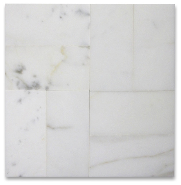 3 X6 Calacatta Gold Subway Tile Polished Italian Calcutta Marble Set Of 1600 Traditional Wall And Floor By Stone Center Online